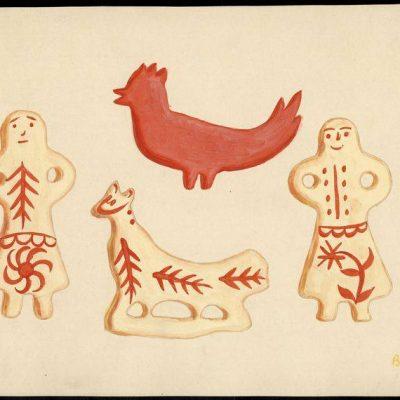 """Virtuali paroda """"Barbora Didžiokienė (1896–1976). Šventinių sausainių piešiniai"""""""