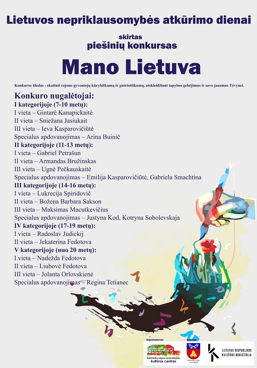 """Konkurso """"Mano Lietuva"""", skirto Lietuvos nepriklausomybės atkūrimo dienai, darbų paroda"""